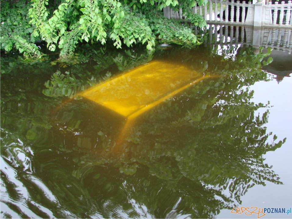 rekordowy poziom Warty - zalane ogródki działkowe - samochód pod wodą  Foto: lepszyPOZNAN.pl / ag