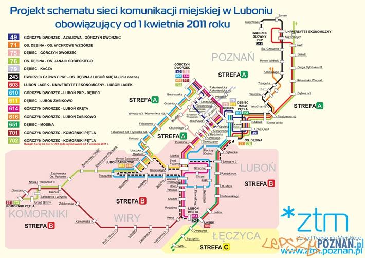 Schemat połączeń linii Luboń - Poznań  Foto: ZTM
