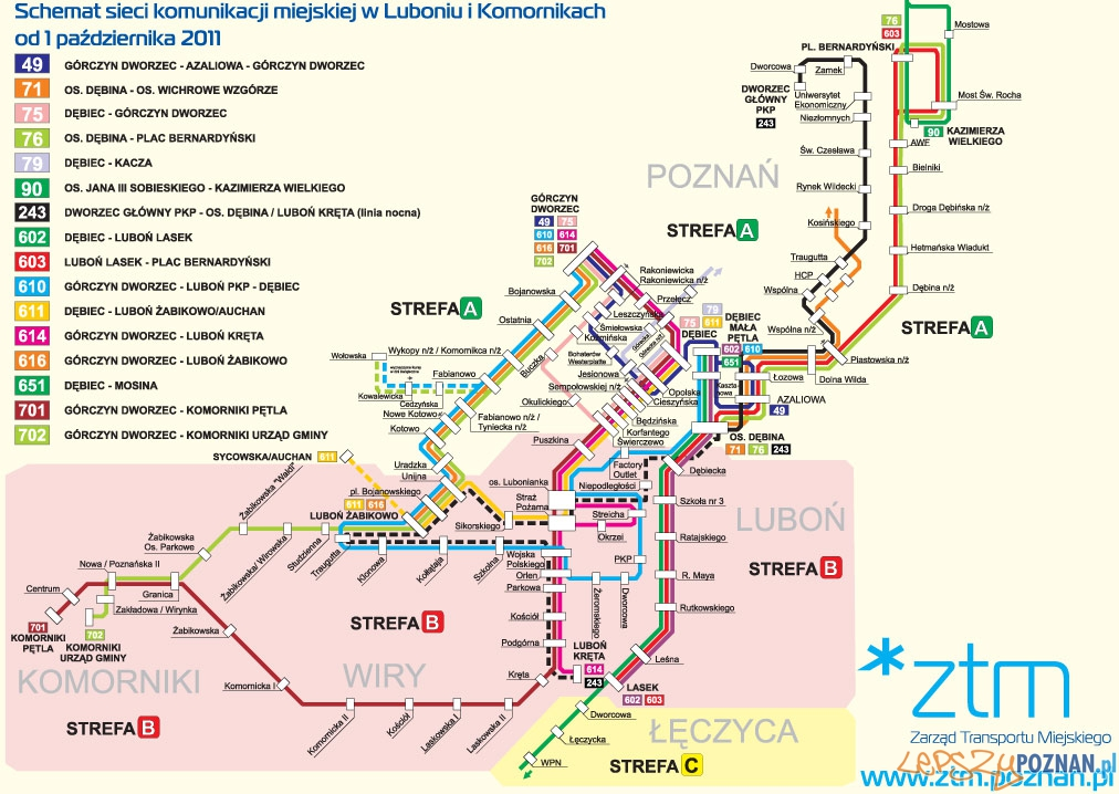 Schemat Komunikacji Miejskiej w Luboniu  Foto: ZTM