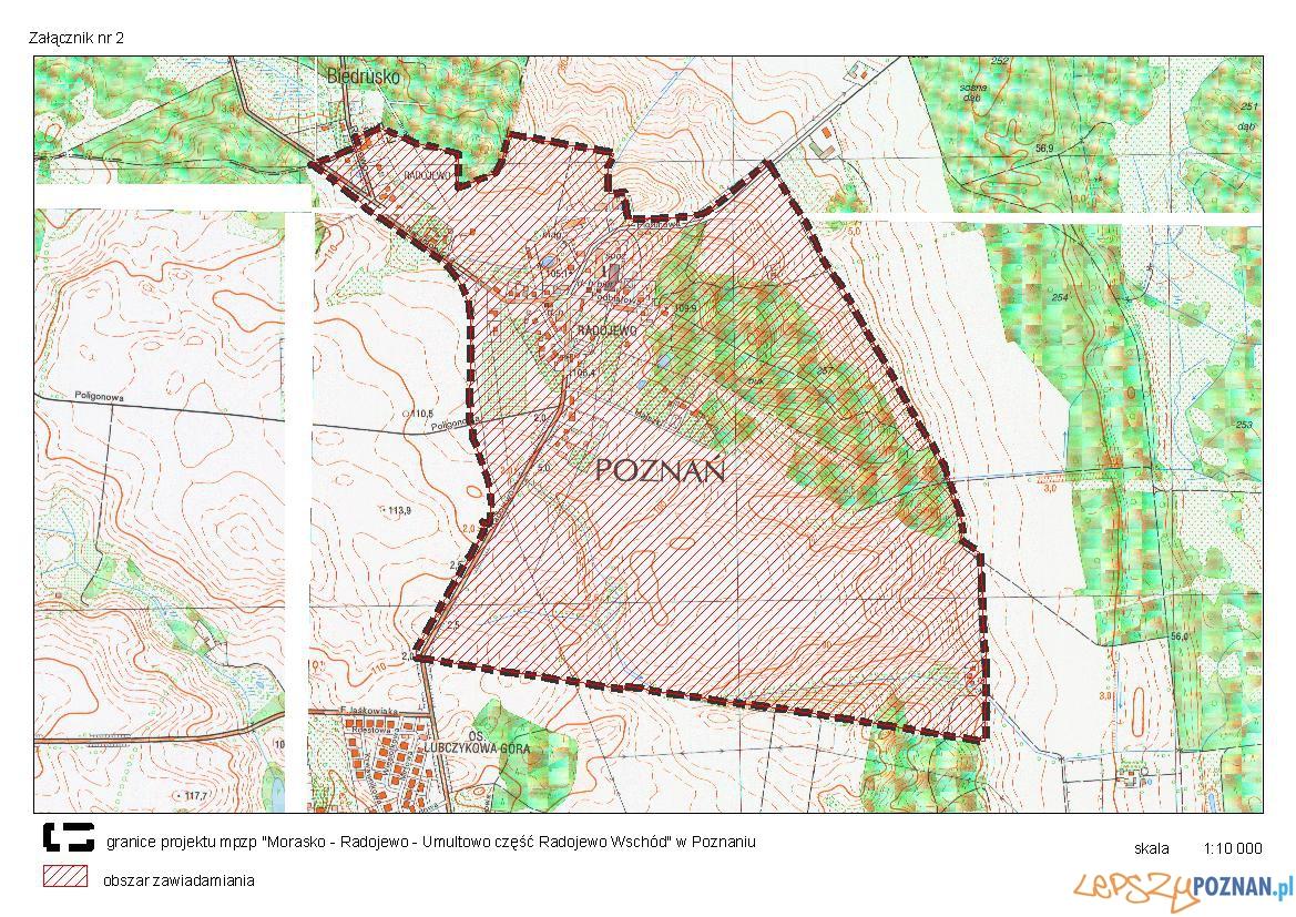 Morasko-Radojewo-Umultowo, część Radojewo Wschód_topograficzna_ z granica planu  Foto: