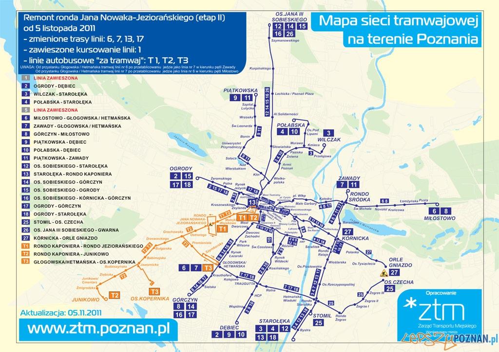 Mapa sieci tramwajowej od 5 listopada 2011  Foto: ZTM