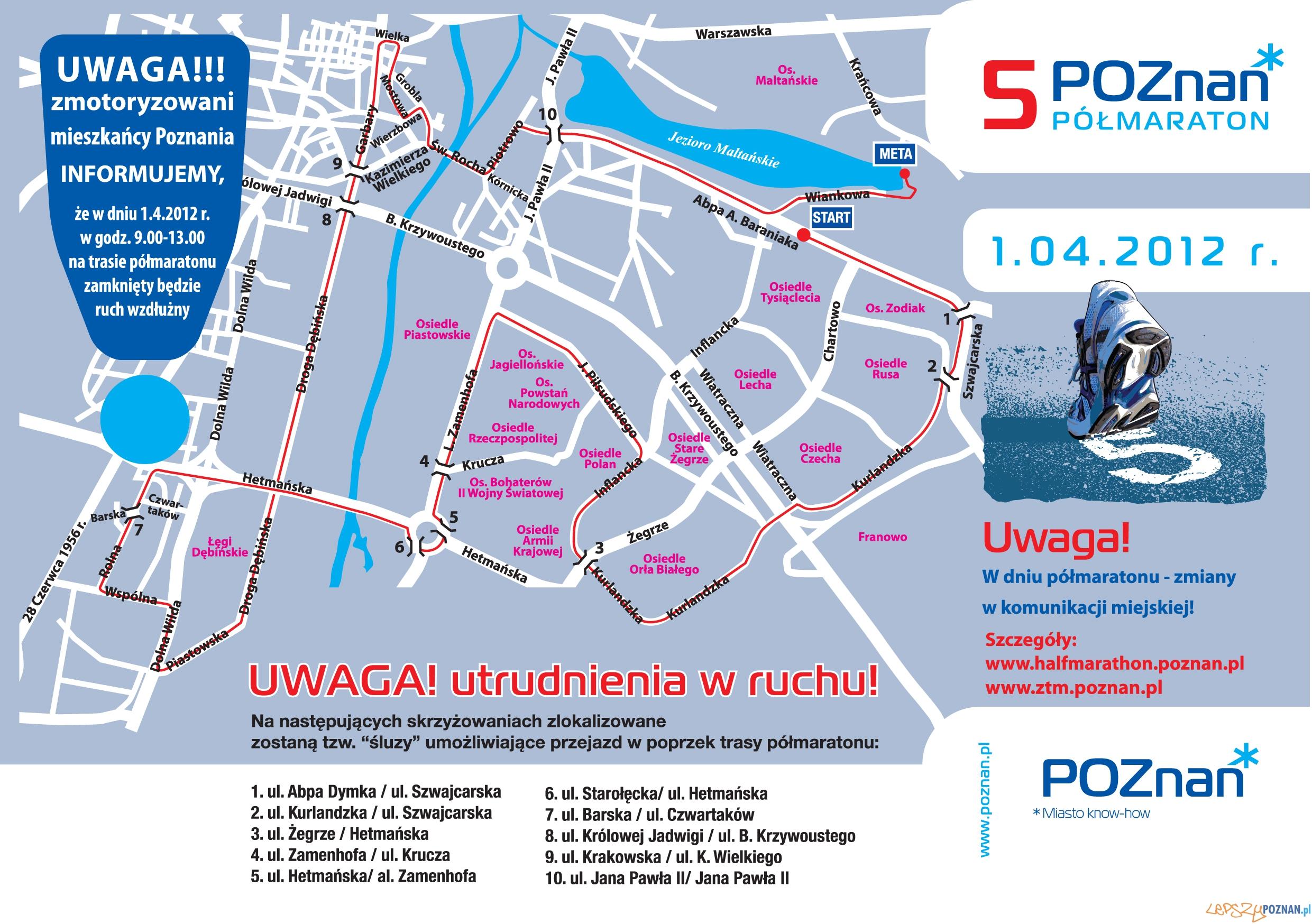 Lokalizacja śluz podcza 5 Poznań Półmaratonu  Foto: POSIR
