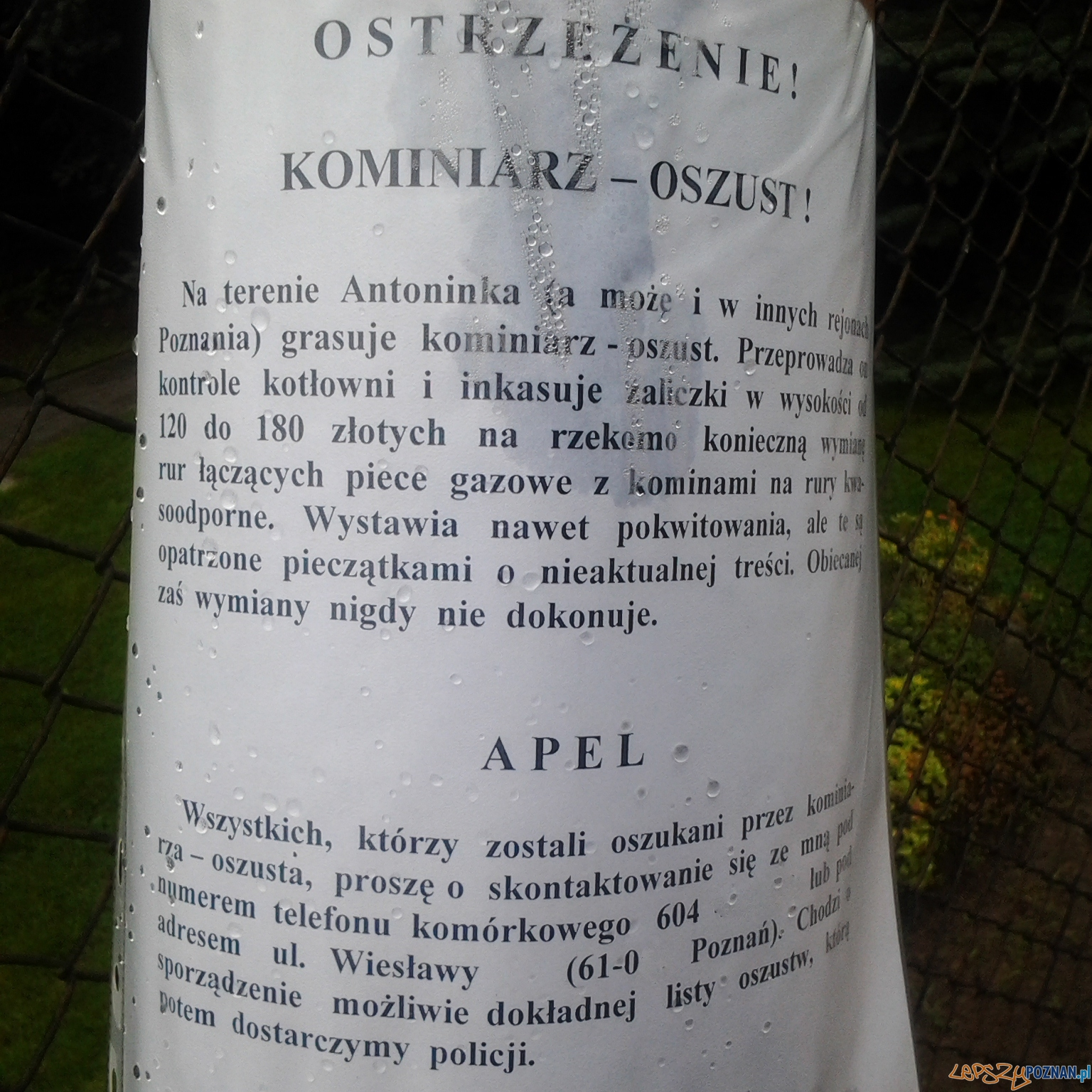 Ostrzeżenie z Antoninka  Foto: lepszyPOZNAN.pl / gsm