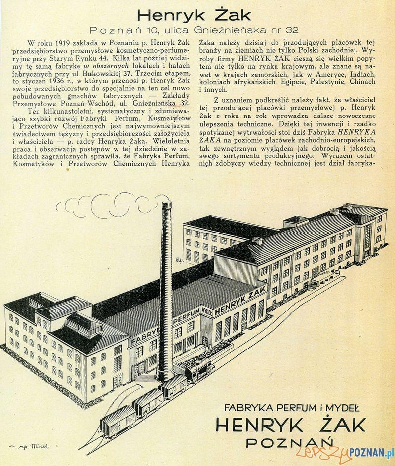 Fabryka Perfum i Mydeł Henryk Zak, Gnieźnieńska 32  Foto: Muzeum Narodowe w Poznaniu, wystawa Miejska ikonosfera na drukach reklamowych z widokami Poznania 18