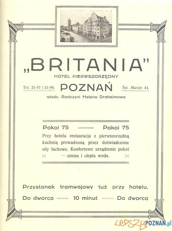 Księgarnia Britania, Św. marcin 74, 1929  Foto: Muzeum Narodowe w Poznaniu, wystawa Miejska ikonosfera na drukach reklamowych z widokami Poznania 18