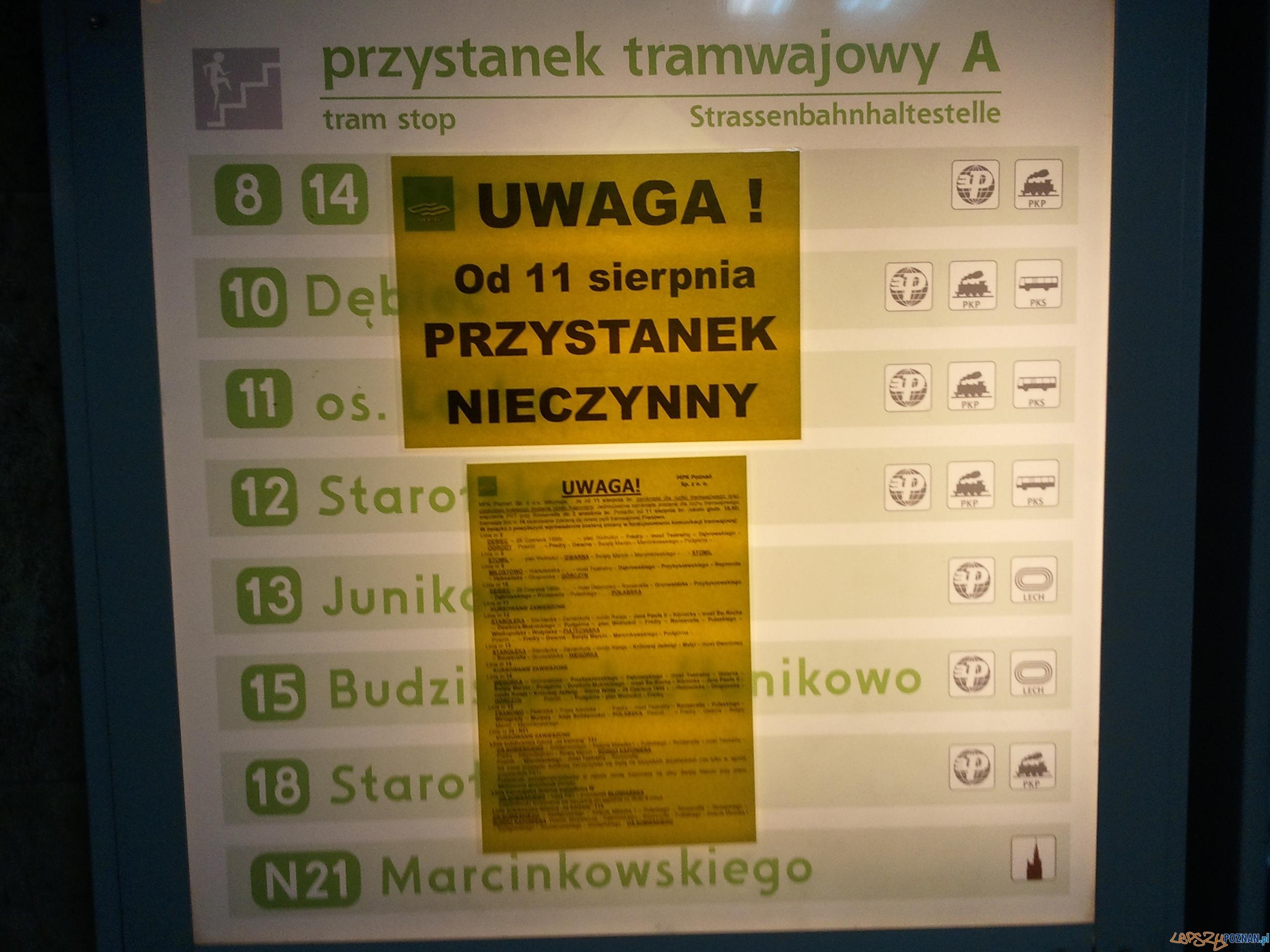 Zamknięte przystanki na Kaponierze  Foto: lepszyPOZNAN.pl