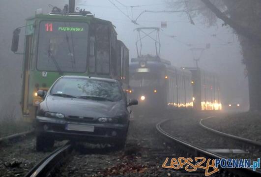 Aleja Wielkopolska - samochód na torowisku  Foto: MPK