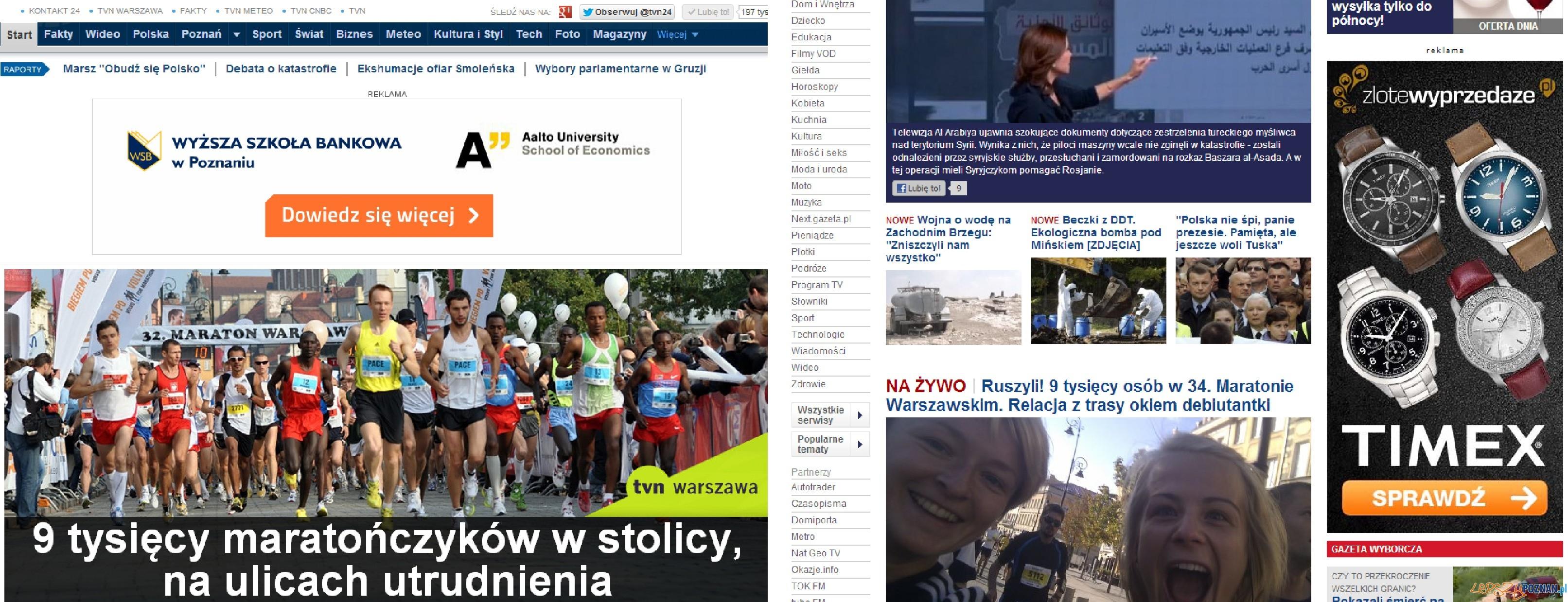 Serwisy o Maratonie Warszawskim  Foto: Serwisy o Maratonie Warszawskim