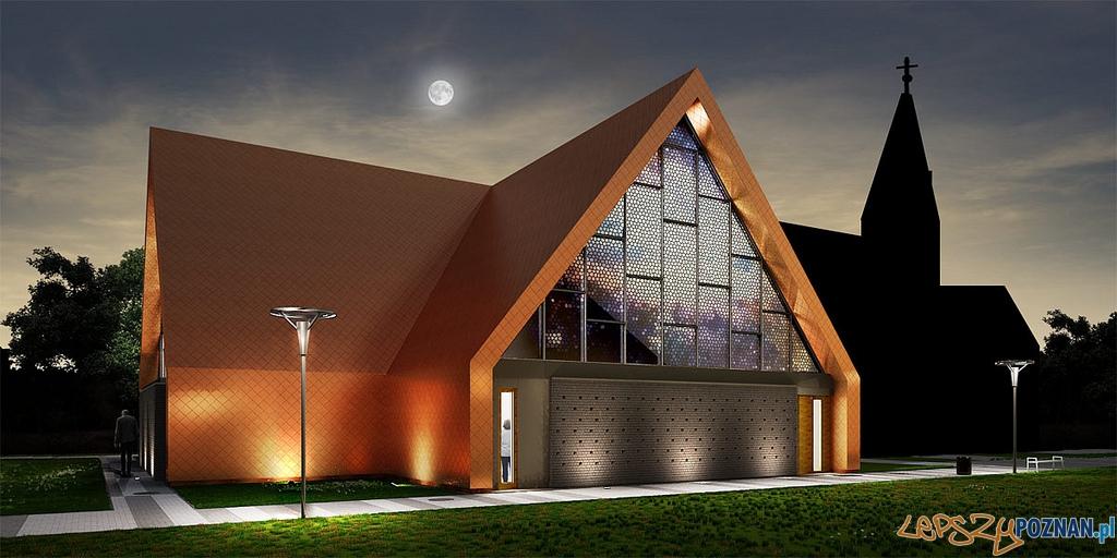 Nowa część kościoła w Rokietnicy - wizualizacje  Foto: Front Architects