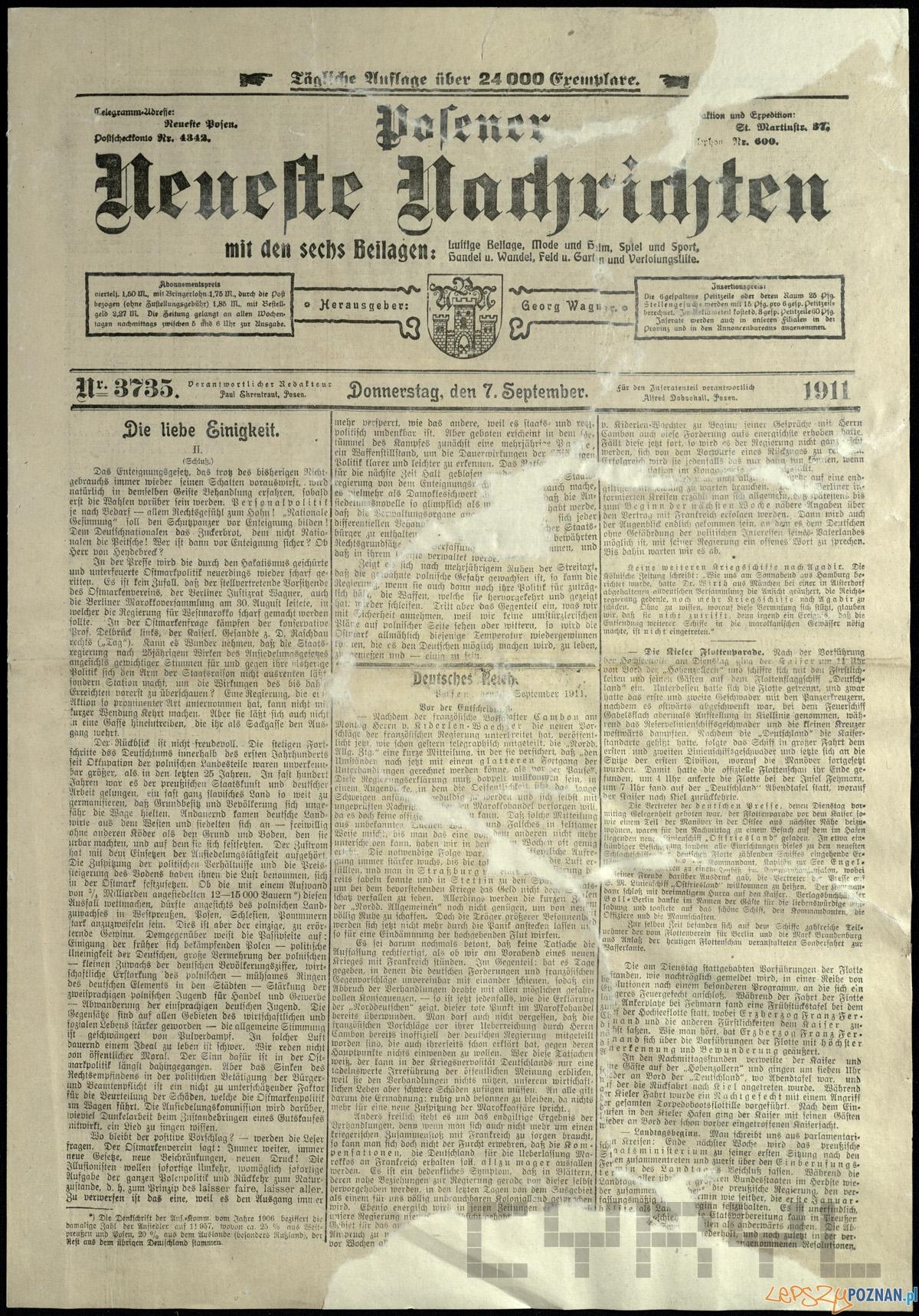 """""""Posener Neuesten Nachrichten"""" z 7 sierpnia 1911 roku  Foto: CYRYL"""