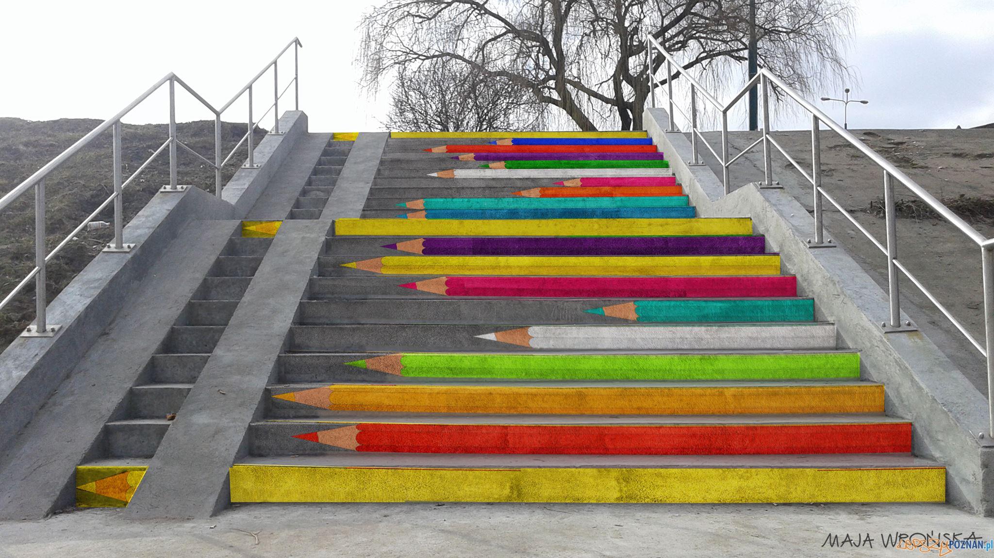 Kolorowe schody przy moście Bolesława Chrobrego  Foto: Takmaj   Maja Wrońska art