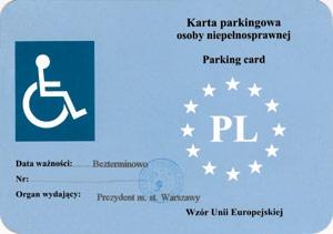 Karta parkingowa (awers)  Foto: