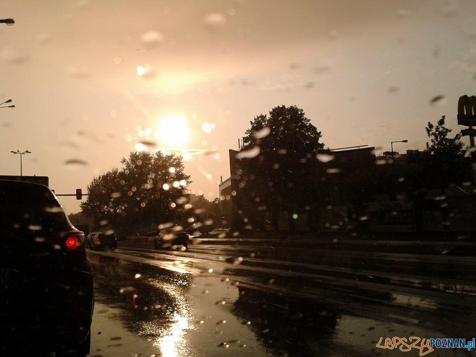 Deszcz i tęcza nad Poznaniem  Foto: