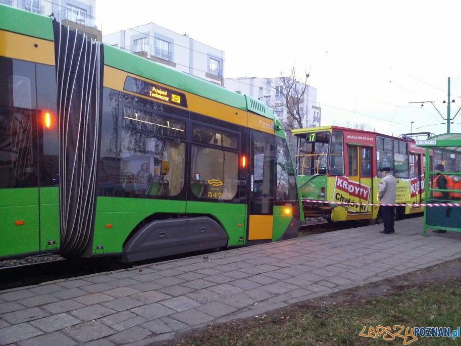 Zderzenie tramwajów na Kórnickiej  Foto: lepszyPOZNAN.pl
