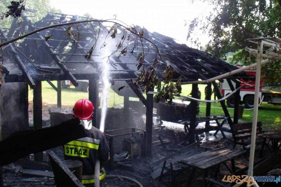 Spłonęła altana w ogrodzie restauracji  Foto: PSP  w Poznaniu