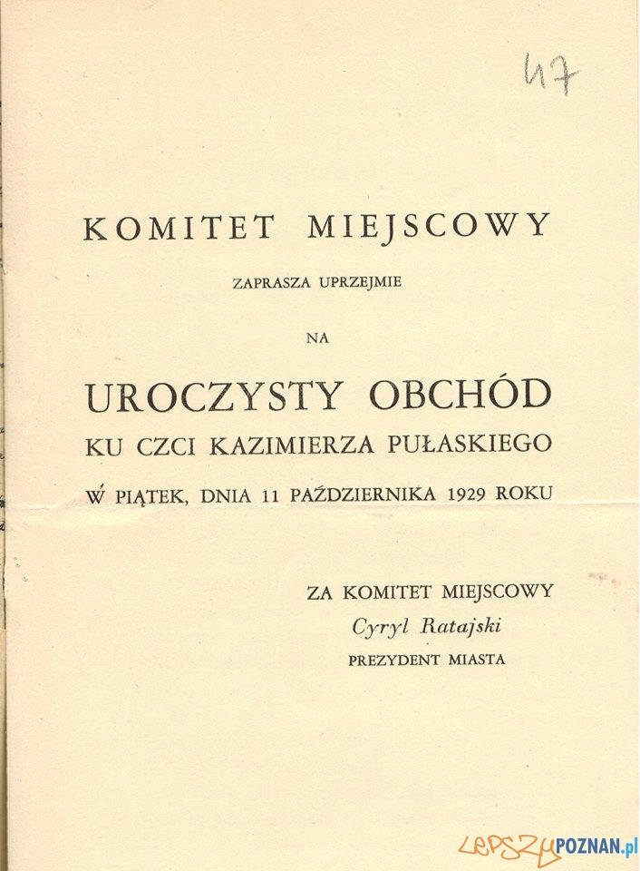 Zaproszenie na uroczystości ku czci Pułaskiego  Foto: Archiwum Państwowe w Poznaniu
