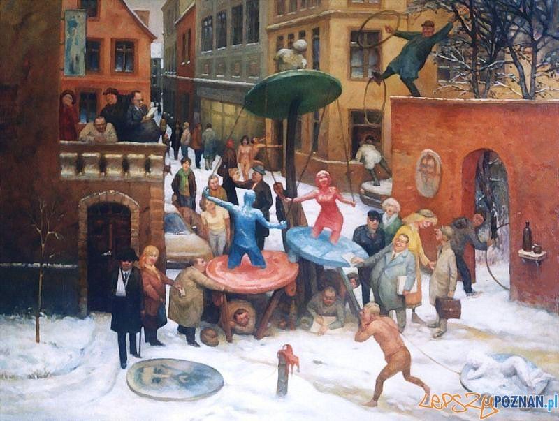 """Jarosław Miklasiewicz - """"Skołowani"""" 65x81 cm 2003 r. olej na płótnie  Foto:"""