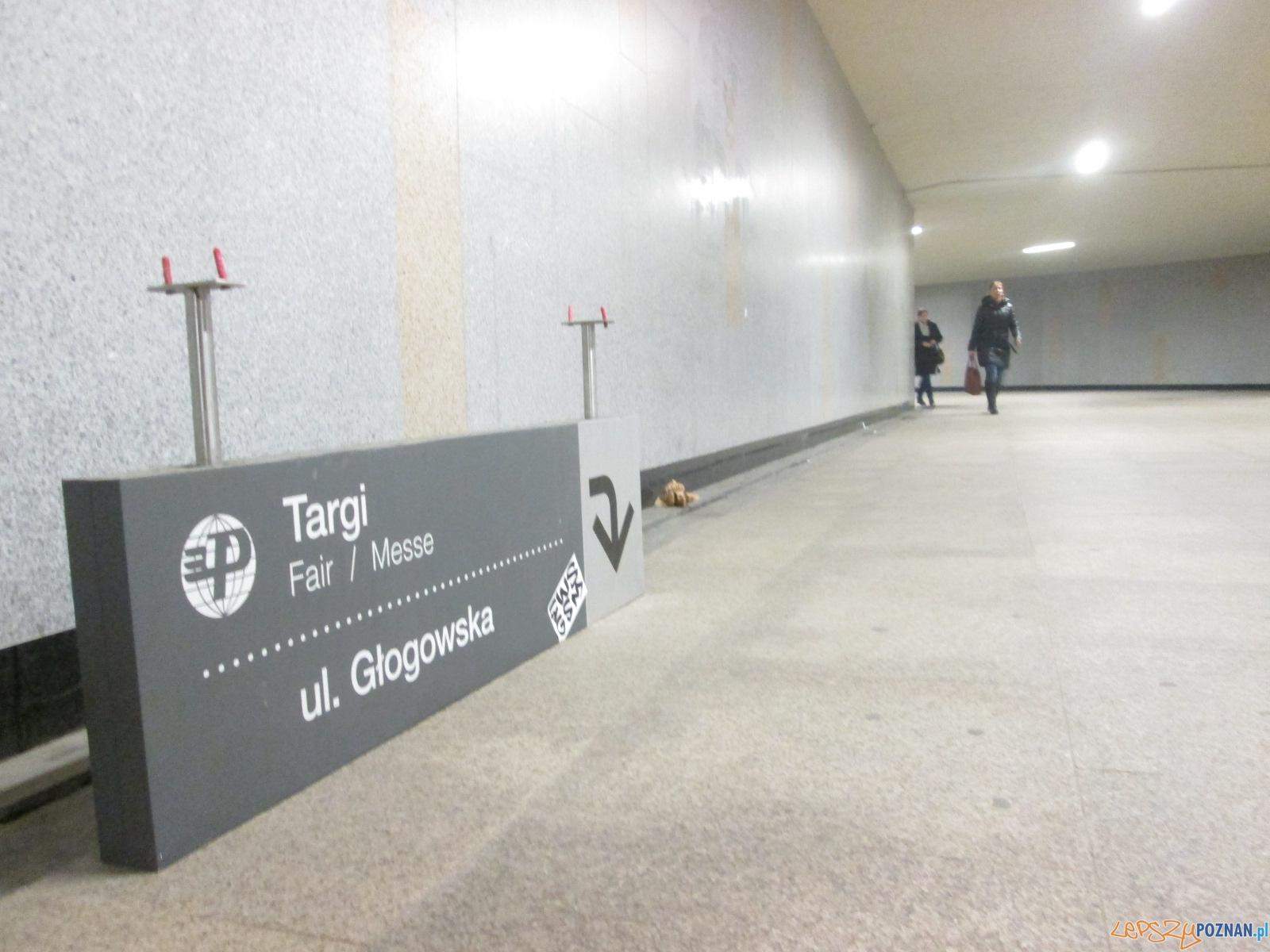 Zerwana tablica w przejściu podziemnym  Foto: Nishio