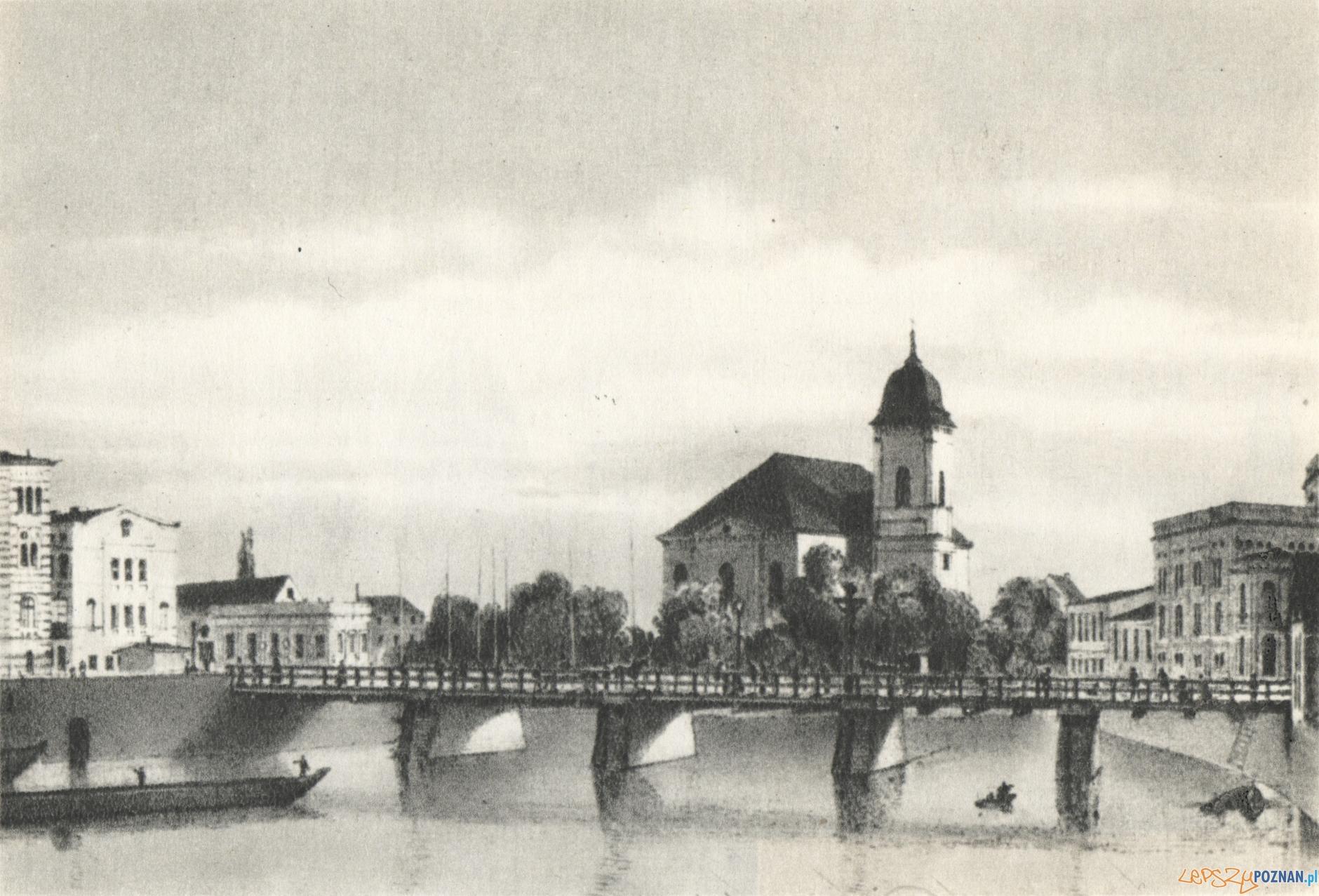 """Most Chwaliszewski 1866-1876  Foto: Autor Robert Geissler, Źródło """"WIDOKI STAREGO POZNANIA"""" Magdalena Warkoczewska, Wydawnictwo Poznańsk"""