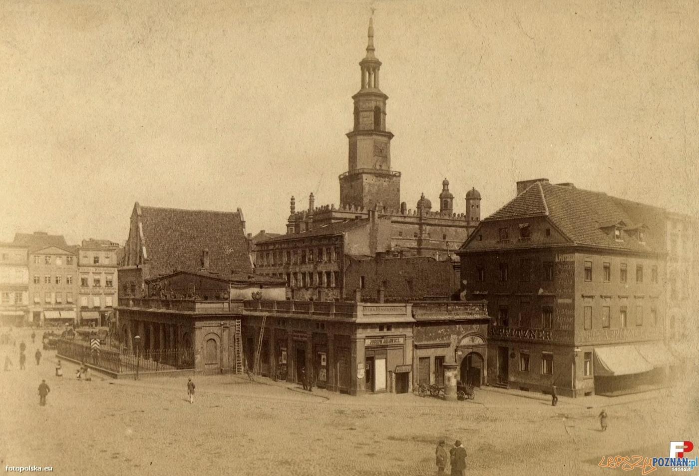 Stary Rynek w Poznaniu z Wagą, Odwachem i kamienicą Pfitznera 1886-1888