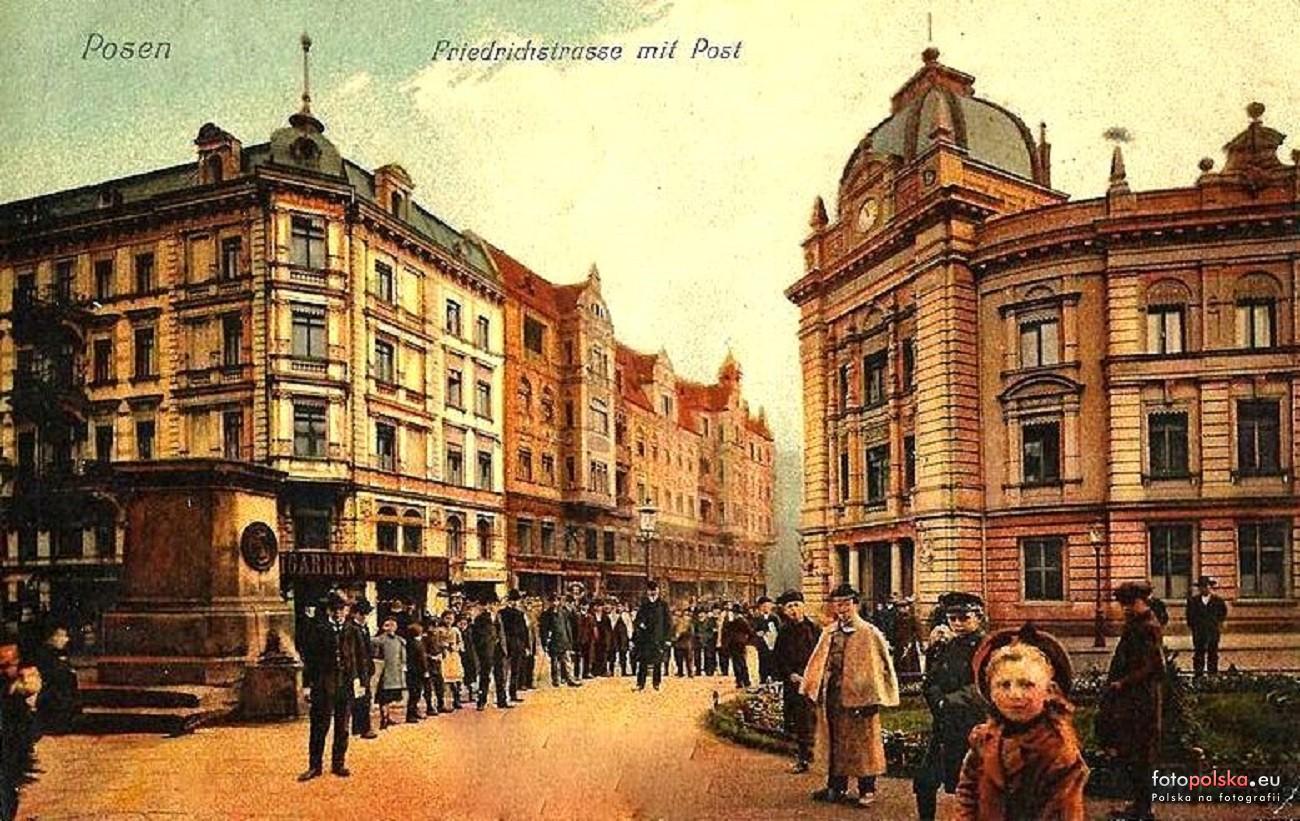 Poczta przy ul. 23 Lutego / Aleje Marcinkowskiego - rok 1906  Foto: fotopolska
