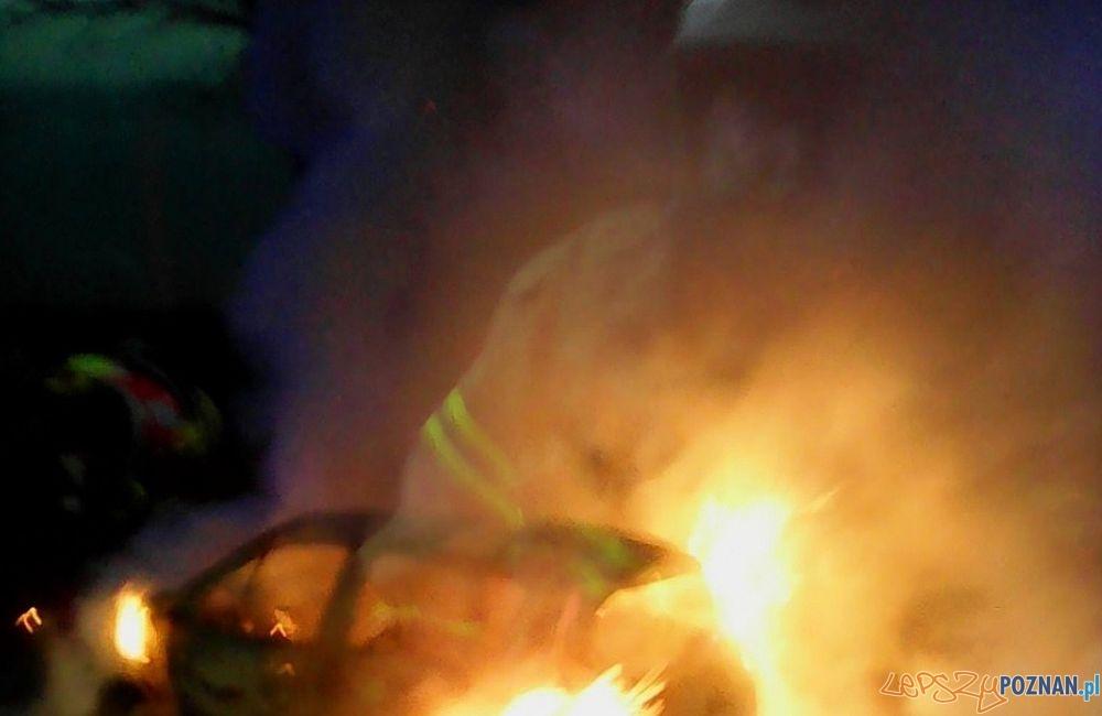 Pożar samochodu pod Szreniawą  Foto: OSP w Luboniu  / osplubon.pl