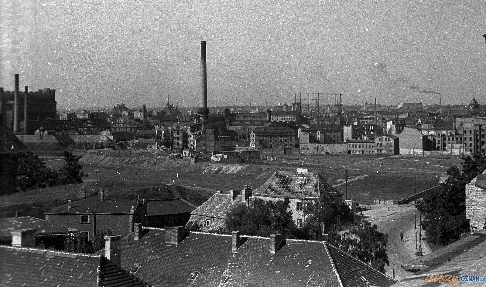 Widok z Katedry w kierunku Chwaliszewa, ok. roku 1947  Foto: Bogdan Celichowski / fortepan.hu