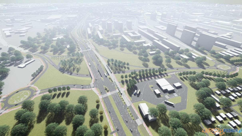 Wizualizacja przebiegu trasy tramwajowej i nowej drogi na Naramowice  Foto: UMP