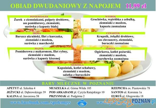 Bar mleczny Euruś - Głogowska 18 - menu - grudzień 2017  Foto: GSS Społem