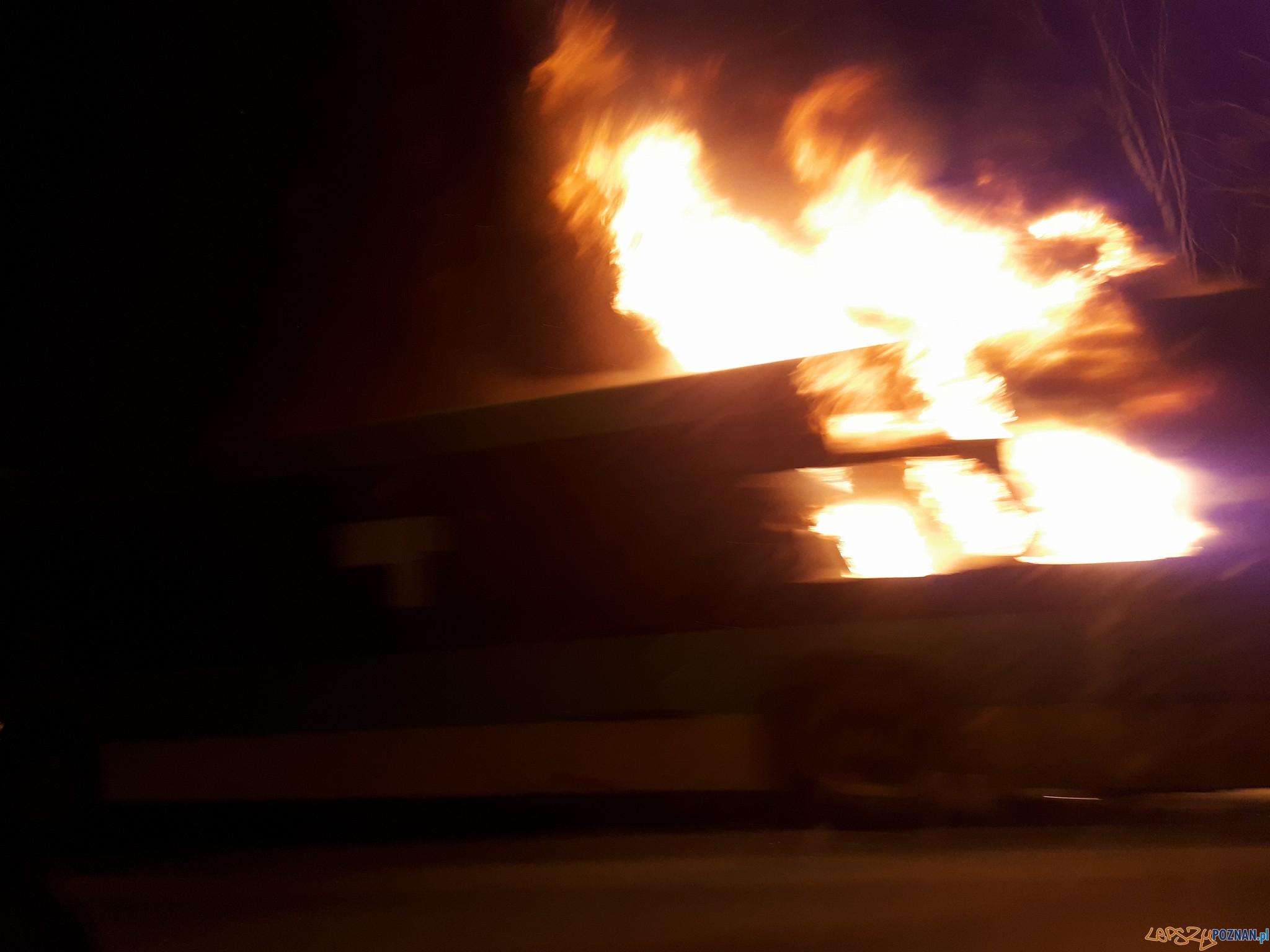 Pożar autobusu na ul. Warszawskiej  Foto: facebook Poznań Antoninek / Asia