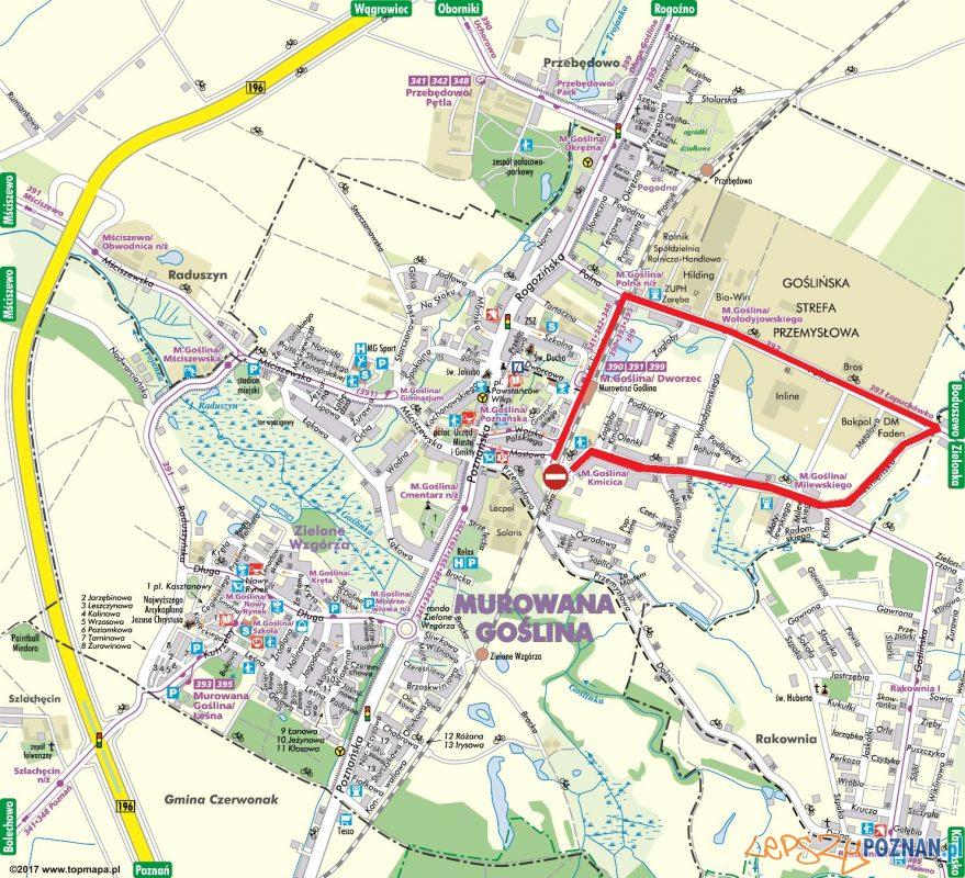 Zamknięcie wiaduktu w Murowanej Goślinie - mapa Foto: