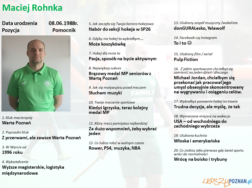 Warta Poznań - Maciej Rohnka Foto: Warta Poznań / materiały prasowe