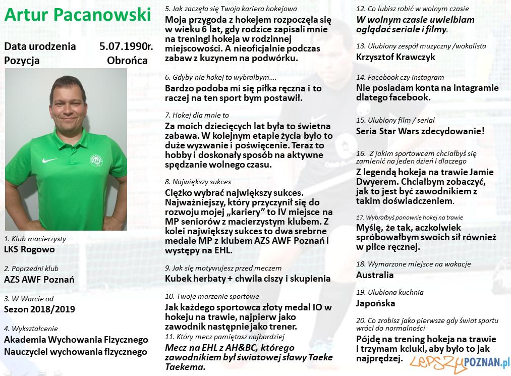 Warta Poznań - Artur Pacanowski Foto: Warta Poznań / materiały prasowe